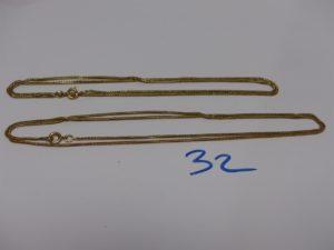 2 chaînes maille serpentine en or (L55 et 60cm, 1 abimée). PB 9,9g
