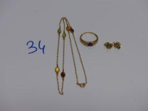 1 collier orné de pierres de couleur (L40cm), 1 bague ornée d'une pierre rouge (td52) et 1 paire de boucles ornées d'une pierre verte. Le tout en or PB 6,4g