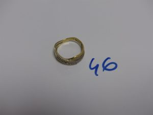 1 bague en or ornée de 2 rangs de petits diamants (td56). PB 3,6g