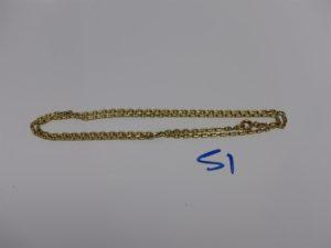 1 chaîne maille forçat en or (L50cm). PB 9,4g