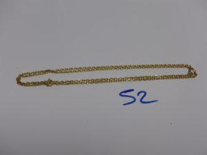 1 chaîne maille forçat en or (L58cm, fermoir à fixer). PB 6,7g