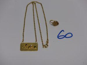 1 collier en or motif central gravé et orné de 4 petites pierres (L42cm) et 1 petite boucle en or. PB 5,8g