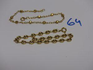 1 bracelet maille grain de café en or (manque anneau de bout, L19cm) et 1 bracelet en or à décor de petites boules (pour la casse très abimé). PB 8g