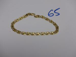 1 bracelet maille fantaisie en or (L18,5cm). PB 11,8g