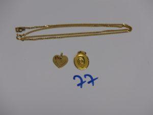 1 chaîne maille gourmette (L45cm), 1 médaille de la Vierge et 1 pendentif coeur. Le tout en or PB 7,4g