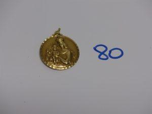 1 médaille des Saints Patrons en or (en recto-verso, dimètre 3cm). PB 7,5g