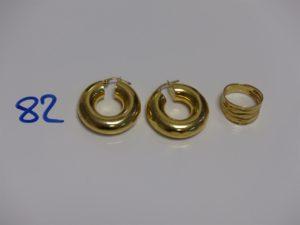 1 paire de grosses créoles (un peu cabossées) et 1 bague martellée (td51). Le tout en or PB 10,6g
