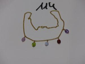 1 collier maille jaseron en or orné de 5 pierres de couleur en pampille (L40cm). PB 4,3g