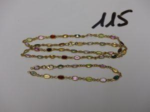 1 collier et 1 bracelet à réparer, le tout en or et orné de pierres de couleur. (L18cm et 42cm). PB 14,6g