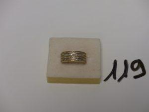 1 bague en or ornée de 4 rangs de petits diamants (td57, le tout environ 0,60ct). PB 6g
