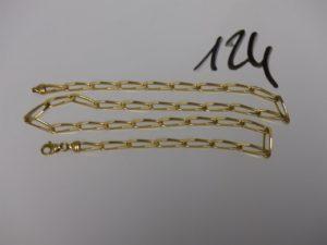 1 chaîne maille alternée en or (L50cm). PB 18,4g