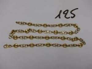 1 collier maille grain de café et maille étrier (L54cm). PB 37,8g