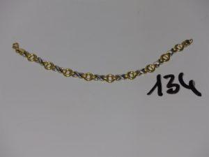 1 bracelet bicolore en alliage 14K (L17cm). PB 6,1g