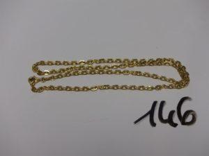 1 chaîne maille cheval en or (L44cm). PB 5,8g