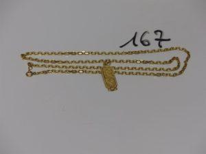 1 chaîne maille forçat (L60cm) et 1 pendentif à décor egyptien. Le tout en or PB 20,4g