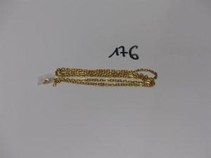 1 chaîne maille cheval en or (fermoir cassé, L75cm). PB 21,5g