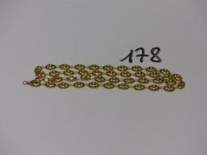 1 chaine maille grain de café en or (L59cm). PB 15,2g