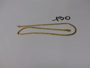 1 collier maille haricot en or (L42cm). PB 7,5g
