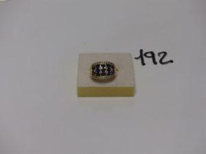 1 bague en or ornée de pierres bleues et de petits diamants (td57, manque 1 diamant). PB 7,4g