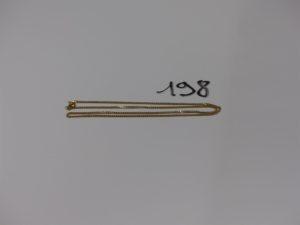 1 chaîne maille gourmette en or (fermoir abimé, L44cm). PB 5,1g