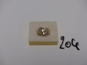 1 bague en or sertie de diamants taille baguette et taille rond (td49). PB 10,6g