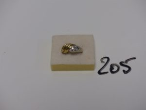 1 bague monture bicolore en alliage 14K, ornée de 7 petits diamants (td54). PB 6,1g