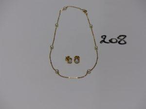 1 collier et 1 paire de boucles le tout en or et rehaussé de perles. PB 6,9g