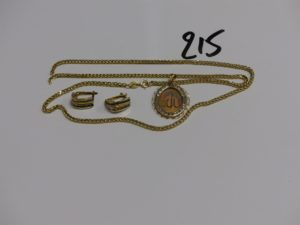 1 chaîne cassée, 1 pendentif orné d'un rang de petites pierres (abimé) et 1 paire de boucle ornées de pierres. Le tout en or PB 8,1g