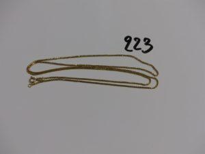 1 chaîne maille carrée en or (L74cm). PB 9,3g