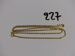 1 chaîne maille forçat en or (L60cm). PB 8,3g