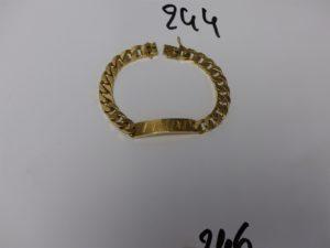 """1 bracelet gourmette gravée """"lAURENT"""" en or (L22cm). PB 72,6g"""