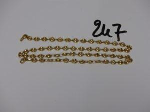 1 chaîne maille grain de café en or (L52cm). PB 14,8g
