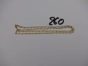 1 chaîne maille alternée en or (L50cm). PB 7,3g