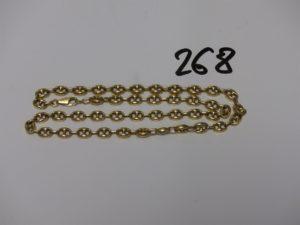 1 chaîne maille grain de café en or (L46cm). PB 20,1g