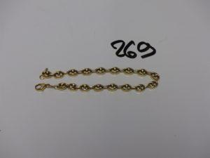 1 bracelet maille grain de café en or (L21cm). PB 8,7g