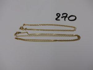 2 chaînes en or (1 maille alternée L40cm et maille forçat L46cm). PB 6,8g