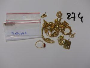 1 Lot casse or et petites pierres PB 19,3g (+ débris de chaîne en métal)