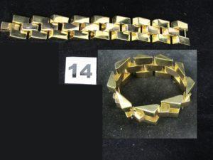1 Bracelet TANK en or bicolore ( L 17cm,année 1940). PB 89,3g