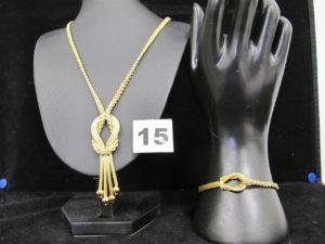 1 Bracelet et un collier en alliage 585/1000 (14k). PB 15,1g