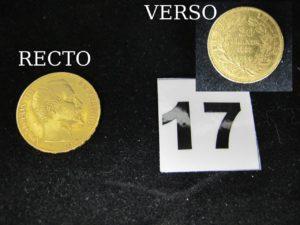 1 Pièce 20fr Napoleon III année 1855. P B 6,4g