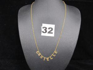"""1 Collier en or prénom """"Danielle""""(L 40cm). PB 2,4g"""