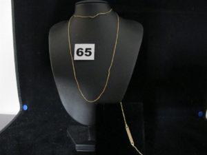 1 Gourmette gravée (L 16cm) et une chaine fine maille tressée (L 62cm). Le tout en or. PB 3,5g