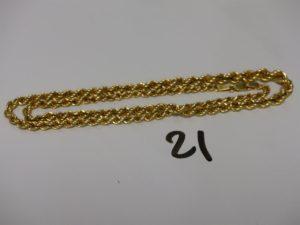 1 chaîne maille corde en or (L42cm). PB 7g