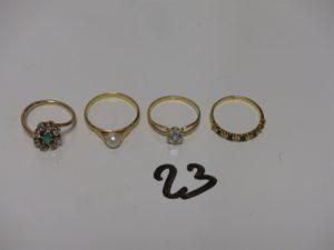 3 bagues (1 ornée d'une pierre verte entourage petites pierres blanches td52, 1 rehaussée d'une perle td55 et 1 ornée d'une pierre bleue ciel td54) et 1 alliance ornée de pierres vertes et petits diamants (td53). Le tout en or PB 8,8g