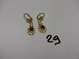 2 pendants en or ornés de pierres. PB 11,5g