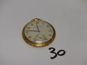 1 Montre Savonnette de poche en or de marque TAVANNES WATCH, avec chronomètre. PB 43,1g