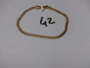1 bracelet maille gourmette en or (L21cm). PB 10,6g