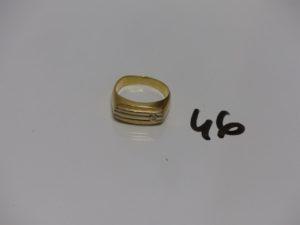 1 chevalière en or ornée d'un petit diamant (td58). PB 6,1g