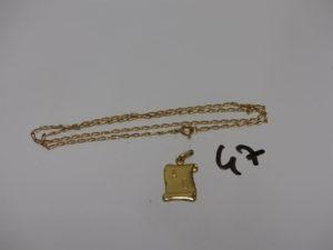 1 chaîne maille alternée (L41cm) et 1 petite plaque gravée. Le tout en or PB 4,4g