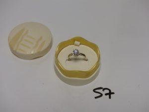 1 bague solitaire diamant demi-taille environ 0,50ct (td57). PB 3,7g